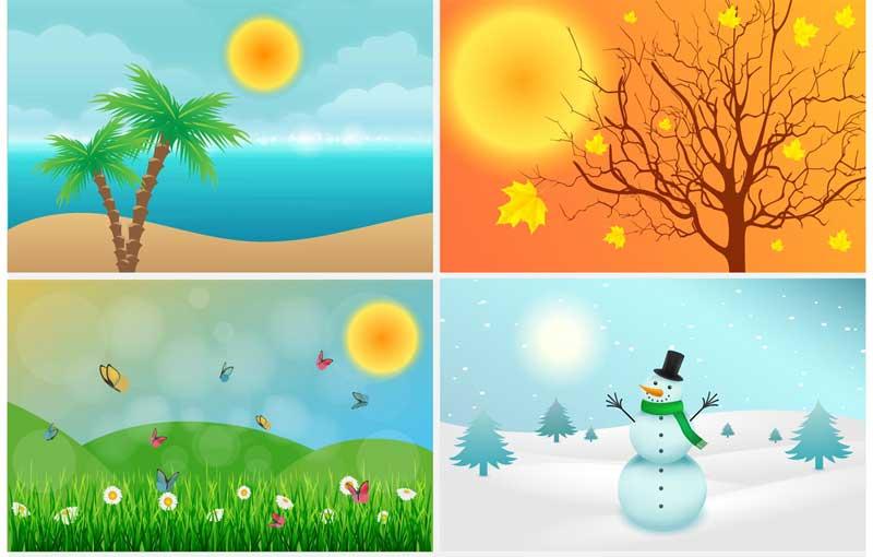 Exemplos de Frases comuns sobre estações do ano em inglês
