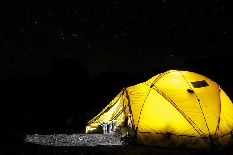 Barraca de acampar em inglês